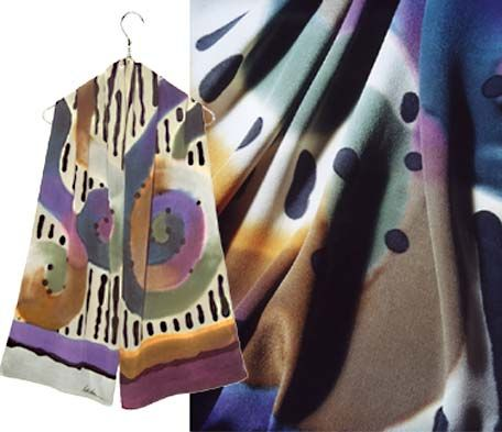 Ulrike Silk scarf with spirals of muted fall colors.