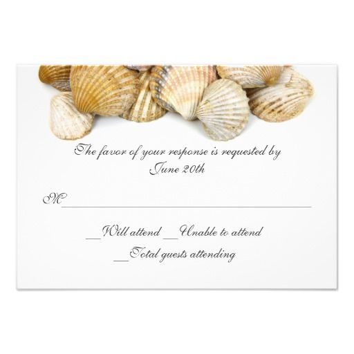 Sea Shells Wedding RSVP Card Personalized Invitation