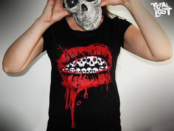 Skull lips t shirt. http://www.etsy.com/listing/93192411/t-shirt-women-skull-lips-bloody-black