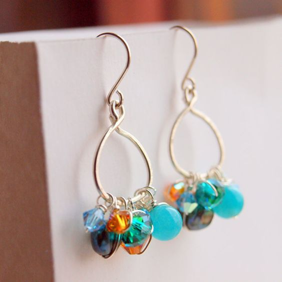 Turquoise orange garland earrings