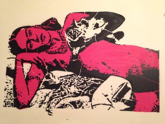 Frida ❤️Stencil grafitada no meu quarto ❤️