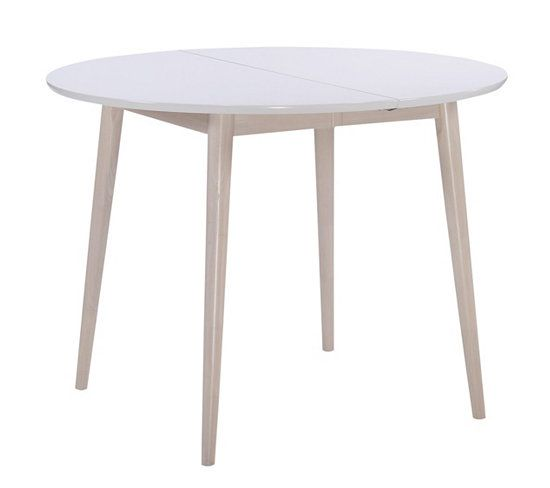Table Ronde 2 Extensions Malena Bois Et Blanc Table Ronde Blanche Extensible Table Ronde Mobilier De Cuisine