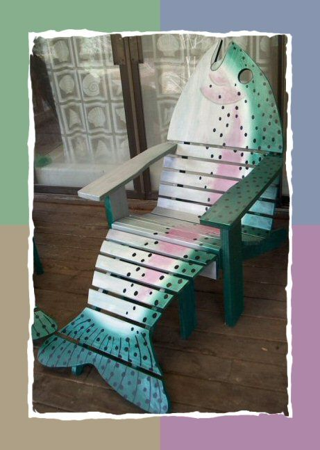 andirondack fish chair  Was enchanted by the cute chairs at the Long Beach, WA Visitors Center that were the same pattern!: