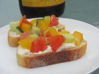 Veggie Crostini w/herbed cream cheese spread