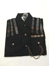 Sdl noir steampunk chemise à manches courtes avec cuivre rouages et chaînes…