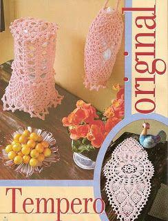 Jogo de cozinha cor de rosa em crochê