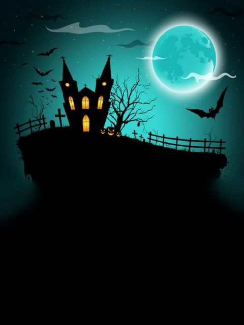 Halloween Theme Photo Booth Backdrops With Bats Moon Halloween