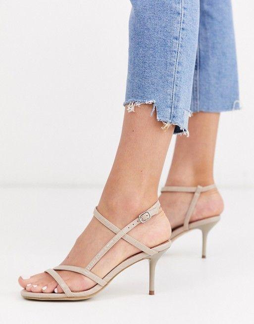 Бежевые босоножки на каблуке с ремешками New Look | ASOS