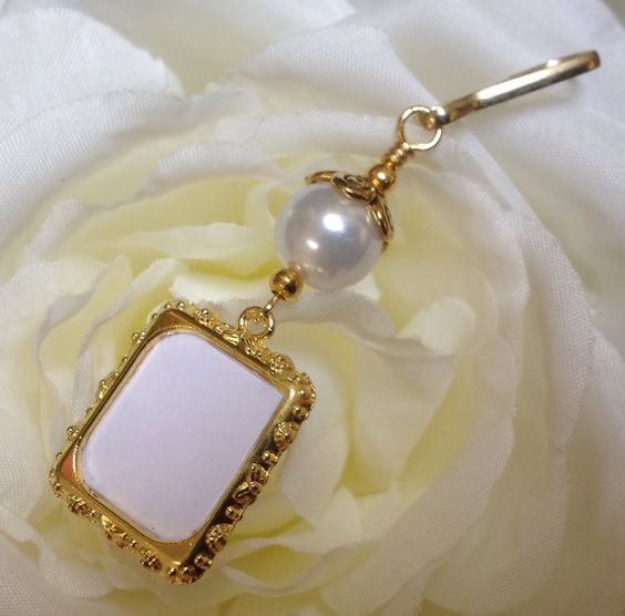 Wedding bouquet photo charm in antique gold tones. Memorial photo charm with white shell pearl. (8.99 USD) by SmilingBlueDog