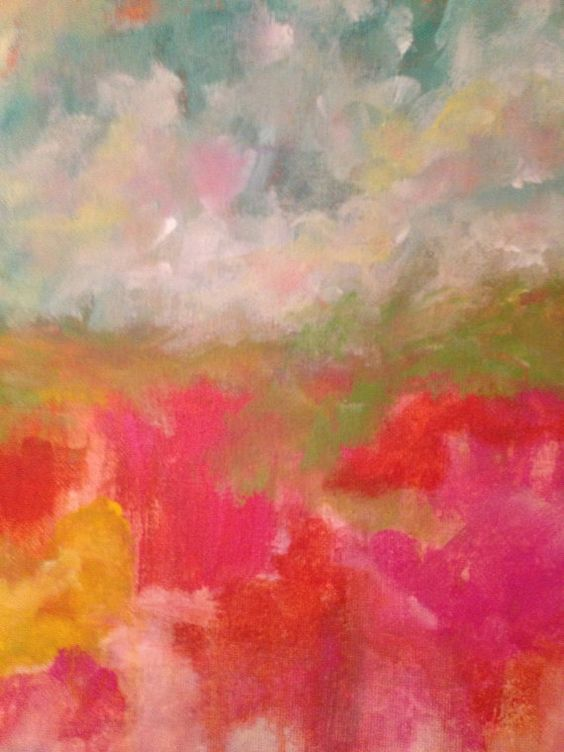 Abstract Acrylic Landscape on 12x12 Canvas on Etsy, $65.00