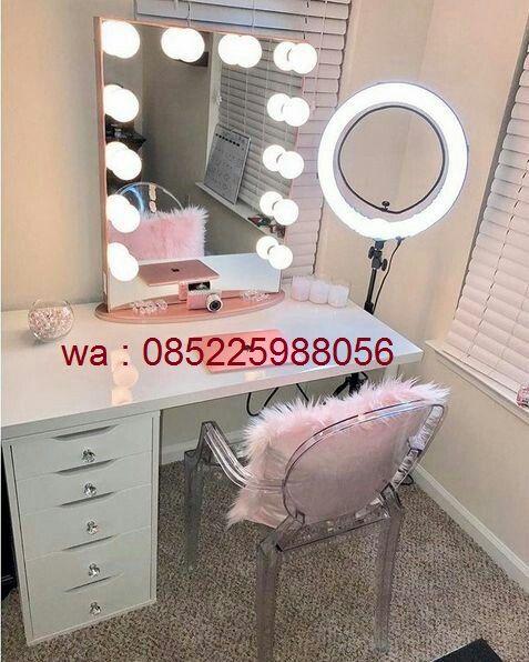 Meja Makeup Model Lampu 6 Laci Terbaru, Diy Lampu Makeup