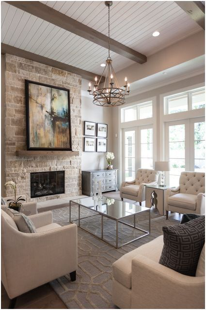 White Living Room With Tall Fireplace Furniture And Decor Layout By Sita Montgomery