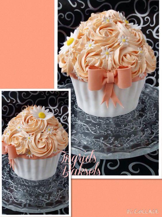 Perzik kleur giant cupcake voor cupcake Smash