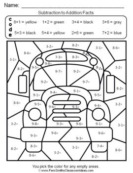 2nd Grade Go Math 3 5 Relate Addition And Subtraction Color By Number Go Math Go Math 2nd Grade Math Coloring Worksheets