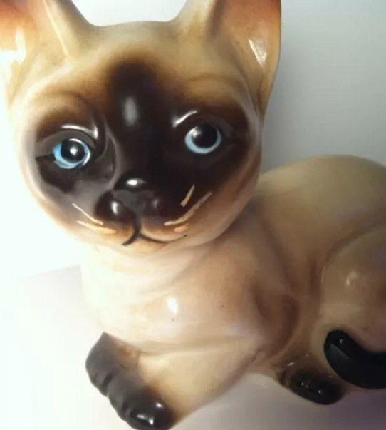"Siamese Cat Brinn's Porcelain Vintage Sitting Blue EYES1987 Vtg 3 5"" Tall Brinn | eBay"