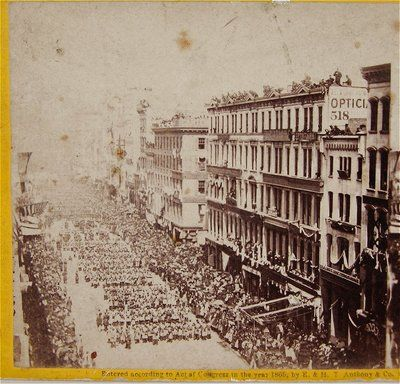 1865 photograph of New York City Lincoln Funeral Procession marching down Broadway.