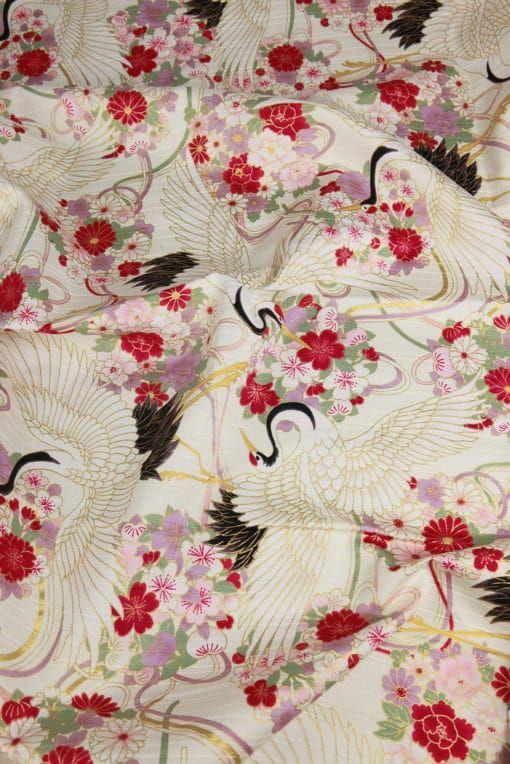 tissu grue satin de coton japonais fond