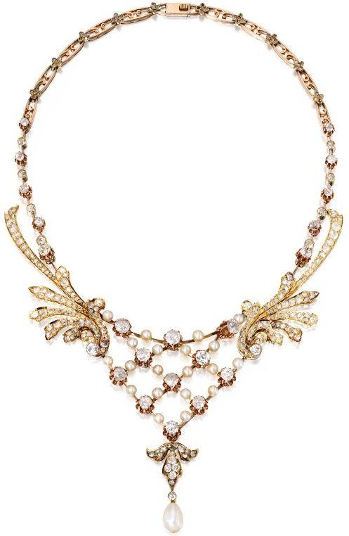 Oro Diamante Perla collar, alrededor de 1900 por Digirrl