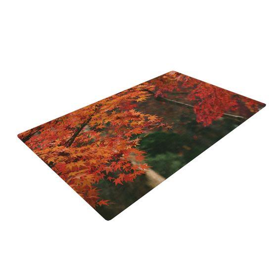"Catherine McDonald ""Autumn Sonata"" Orange Green Woven Area Rug"
