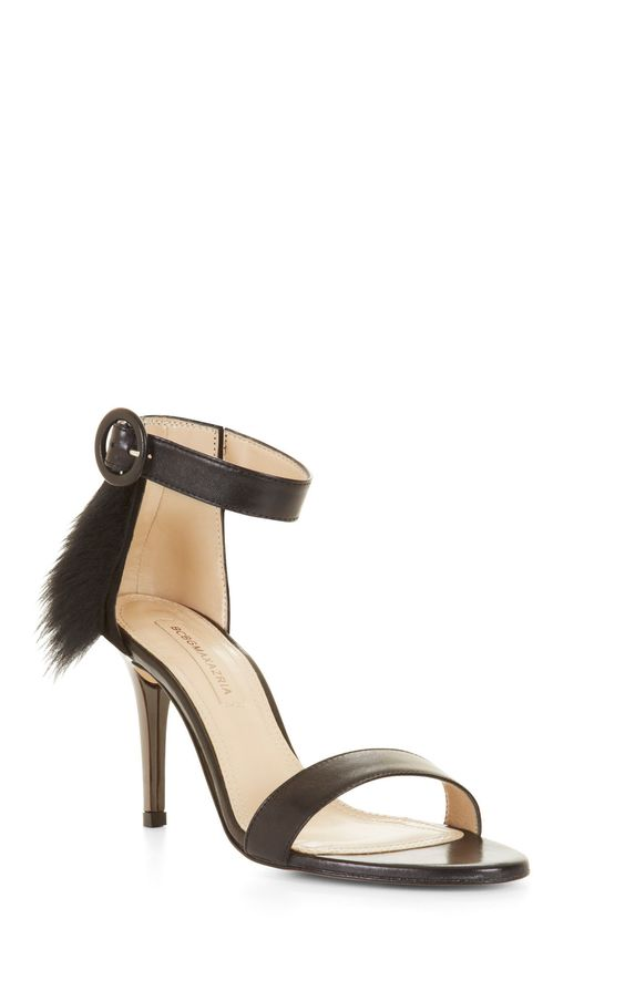 Poppy High-Heel Fur Trim Sandal