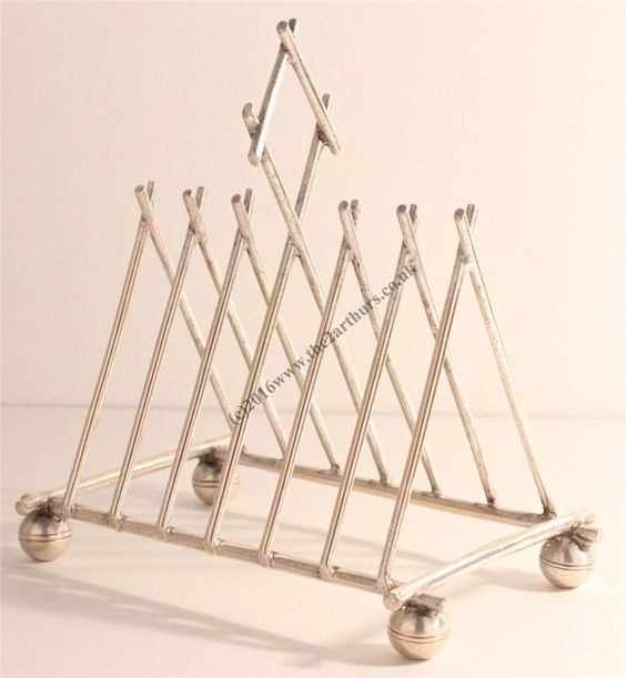 Arts and Crafts/Nouveau Christopher Dresser Style Silver Plated Toast Rack
