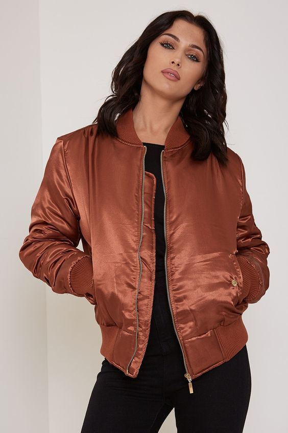 Who's That Girl Satin Bomber Jacket Bronze - Coats & Jackets ...
