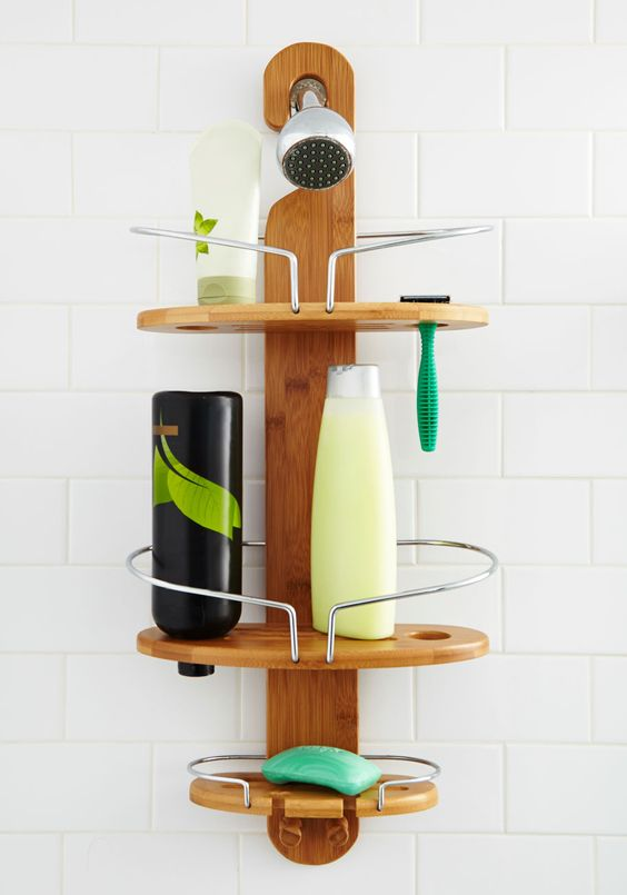 Good, Clean Organization Shower Caddy. Give those bottles and creams that are stashed around your shower a home on this bamboo shower caddy! #tan #modcloth