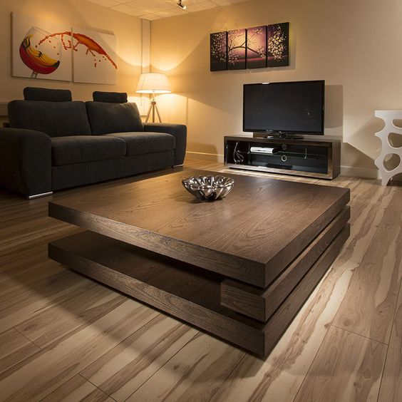 Large Coffee Table Small Room: Extra Large Modern Square Dark Elm Brown Wood 1.2mt Coffee