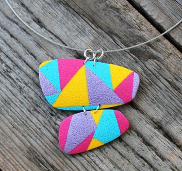 Geometric polymer clay necklace
