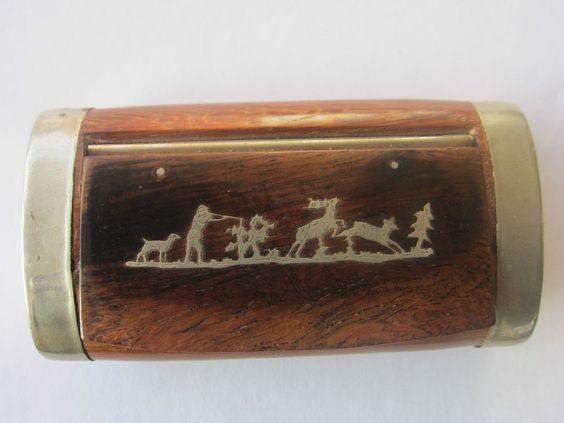 Alte Schnupftabakdose Tabatiere Holz mit Silbereinlage Jagdszene um 1900