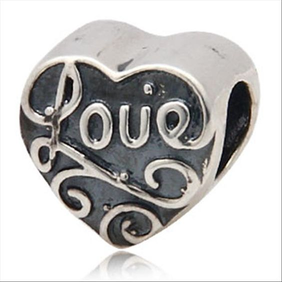 Love Heart Authentic 925 Sterling Silver Beads Love