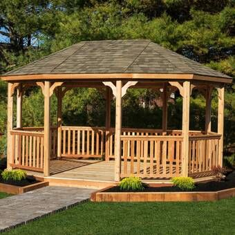 Meridian 12 Ft W X 14 Ft D Solid Wood Patio Gazebo With Images Modern Gazebo Pergola Patio Wooden Gazebo