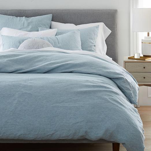 Belgian Flax Linen Melange Starter Bedding Set Washed Blue Gemstone West Elm Blue Duvet Cover Blue Duvet Baby Blue Bedrooms