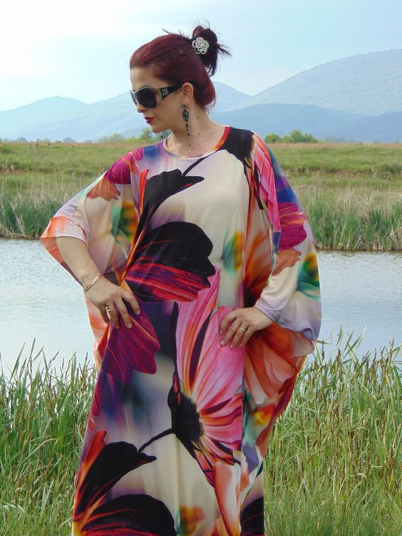 Floral Kaftan Abaya /Oversized Maxi Dress / Summer by AzaliaCult