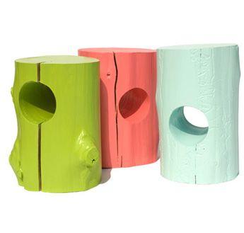 stump stools. Pop of colour