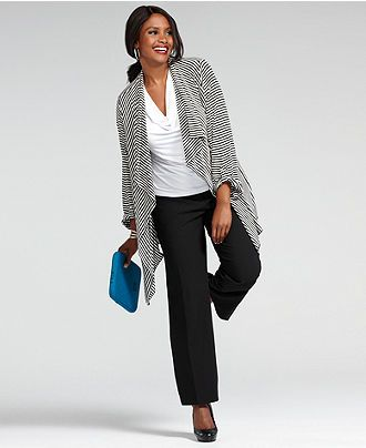 Wear What Works Plus Size Pants & Striped Sweater Look