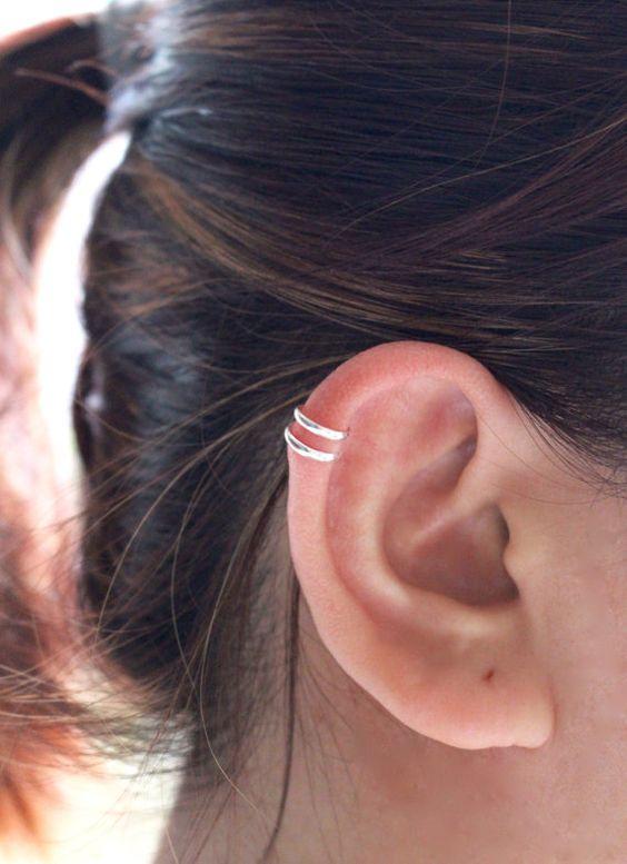 Silver Ear Cuff Earring Sterling Silver Ear Cuff by JCoJewellery
