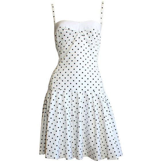 """Preowned Enrico Coveri Vintage """" Pretty Woman """" Black White Polka Dot... (€565) ❤ liked on Polyvore featuring dresses, white, vintage polka dot dress, white and black dress, black and white dress, vintage dresses and white bodycon dress"""
