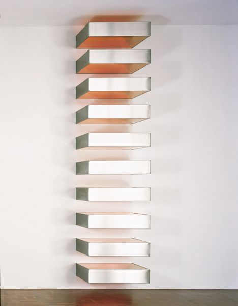 Donald Judd - Untitled, 1967 Stainless steel and Plexiglass, ten units, 91/8 x 40 x 31 each, 1901/8 x 40 x 31 overall