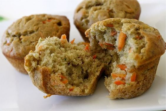 Veggie muffins - with broccoli, carrots, & banana. BIG hit! Note to self: I modified recipe to include applesauce in place of butter, 1/2 whole wheat flour, honey yogurt, and apple harvest fruitable juice.