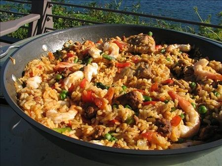 Portuguese Paella w lots of shrimp and chorizo