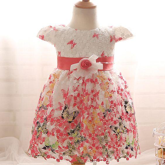 2016 Nieuwe Meisje Doopkleedjes Bloemenmeisje Jurk Baby Prinses Jurk Robe Fille…