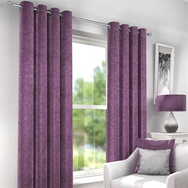 Countess Heather Luxury Lined Eyelet Curtains