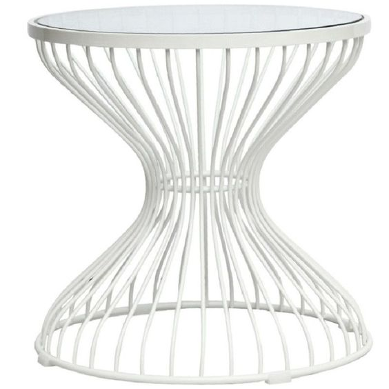 Mid-Century Modern Squeezed Side Table White FMI10083