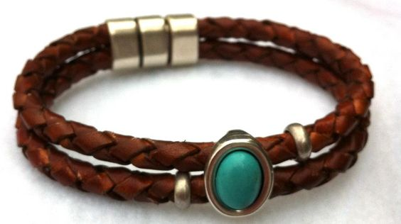 $25.00  Braided Leather with Faux Turquoise focal   www.lindysdesigns.etsy.com  www.lindysdesigns.blogspot.com