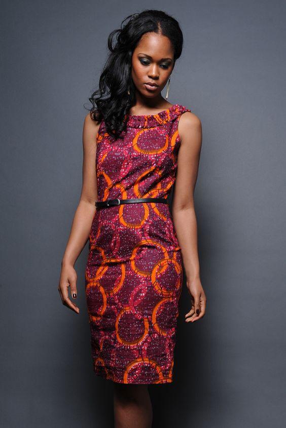 African print dress in Magenta Print