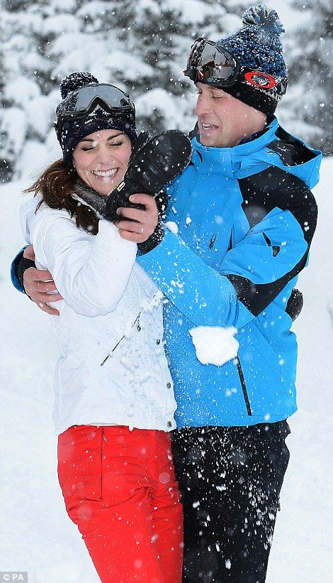 07.03.2016 Their Royal Highnesses enjoying a short skiing holiday with their children in the French Alps. The royal couple flew with Prince George, two, and ten-month-old Princess Charlotte to the location in the French Alps last Wednesday (02.03.2016). The photographs were taken first thing on Thursday (03.03.2016) morning, within minutes of Prince George being introduced to the snow for the first time.: