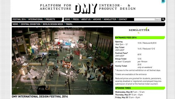 MAY:  DMY Berlin 2014 //   BERLIN DESIGN WEEK 2014 May 26 - June 1, 2014 Design events all over town