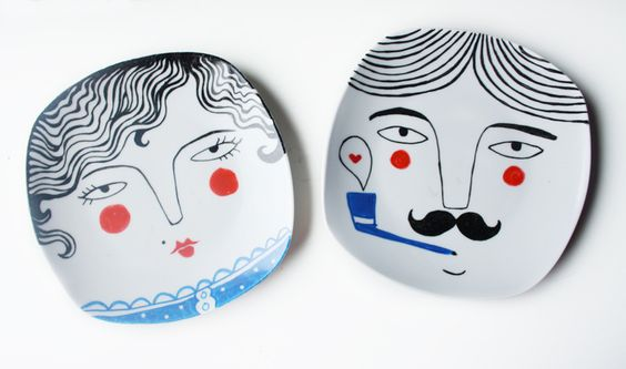 Handbemalte Teller zur Deko // Hand painted plate for decoration by NuriaDiaz via DaWanda.com