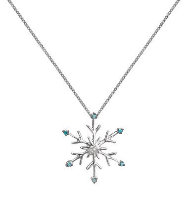 Look what I found on #zulily! Blue & White Diamond Snowflake Pendant Necklace #zulilyfinds